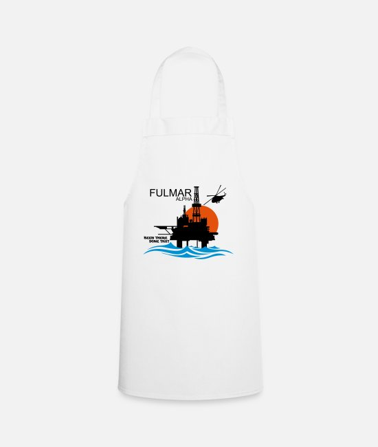 Office Aprons - Fulmar Alpha Oil Rig Platform North Sea Aberdeen - Apron white