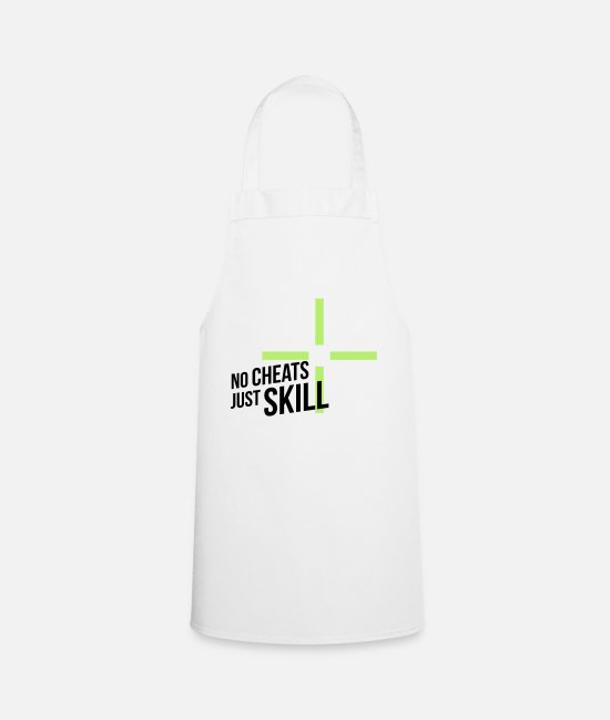 Twitch Aprons - NO CHEATS JUST SKILL - Apron white