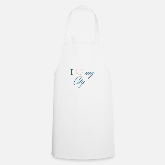Gift Idea Aprons - I love my city - Apron white