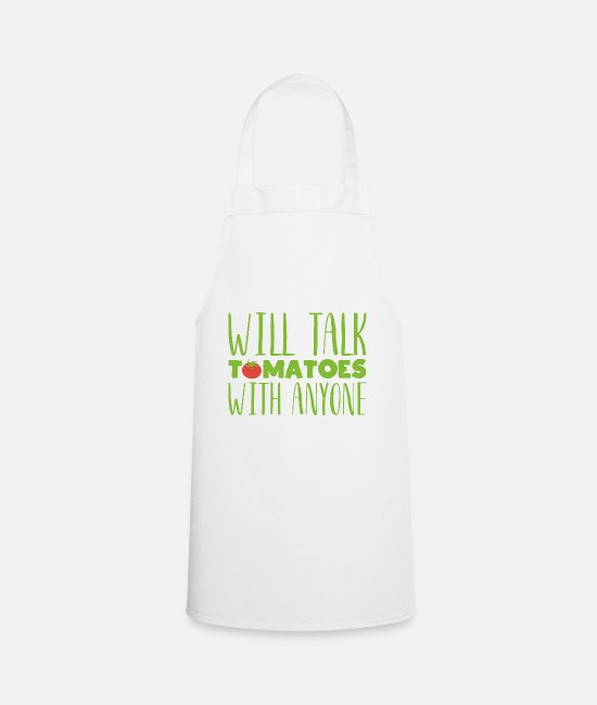 Nature Aprons - Will talk tomatoes with anyone Gardening gift - Apron white