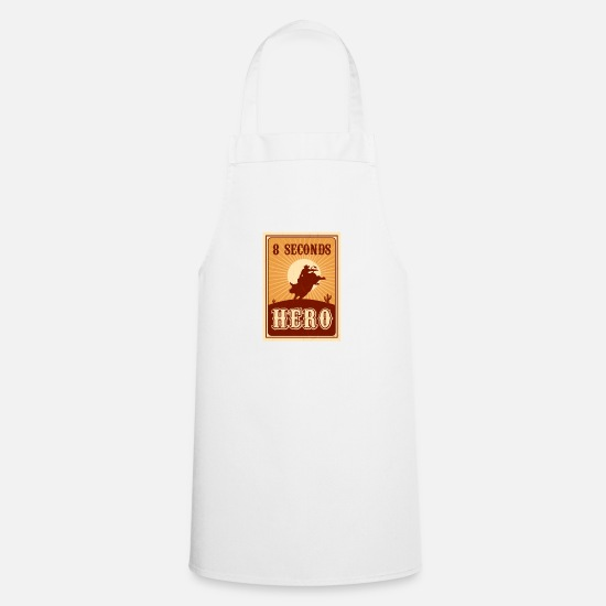 Rodeo Aprons - Bull Riding 8 Seconds Hero Vintage Rodeo Retro Cow - Apron white