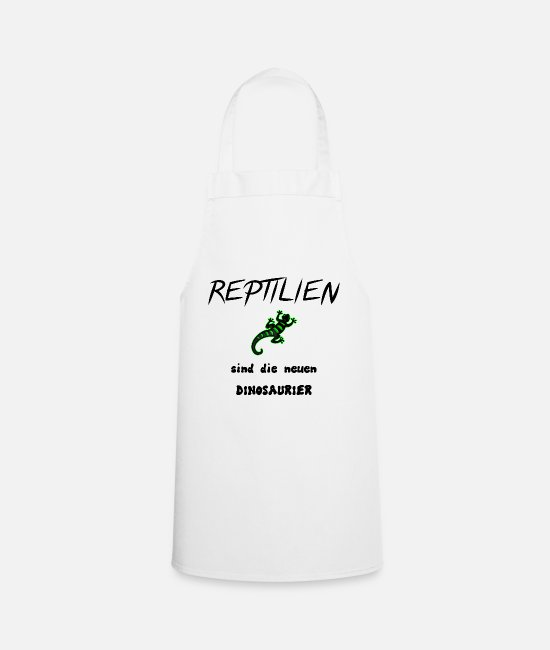 Newt Aprons - Reptiles and dinosaurs. - Apron white