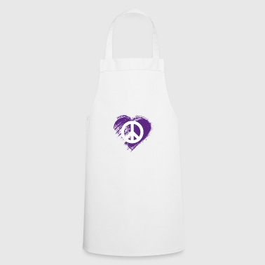 Weather Grungy I Love Peace Heart Flag - Cooking Apron