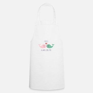 Love Cute whales love in love saying love gift couple - Apron