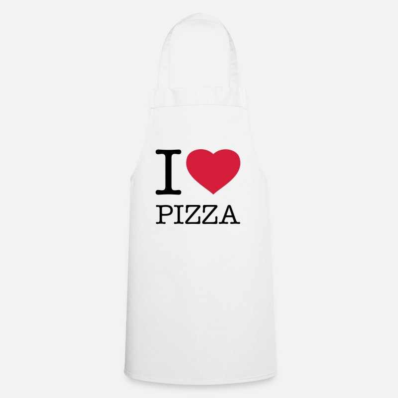 Fast Food Kookschorten - I LOVE PIZZA - Schort wit