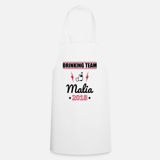 Single Aprons - Drinking Team 2018 Malia - Apron white