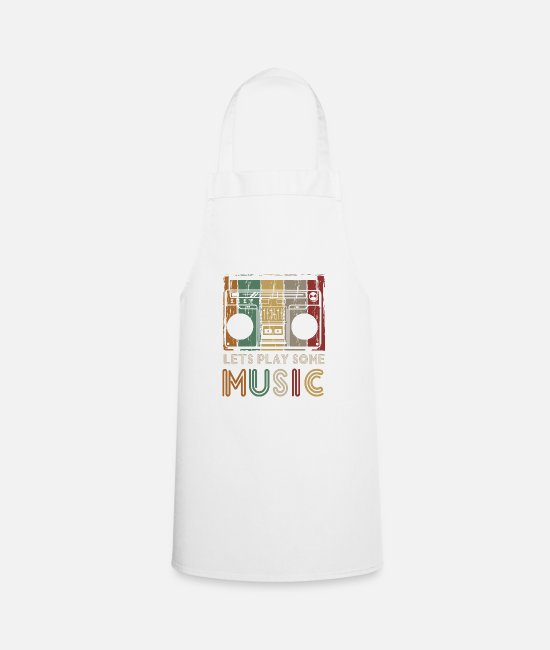 Cassette Aprons - Retro car vintage music - Apron white