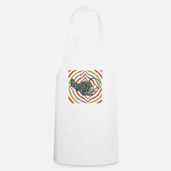 Seafood Aprons - Retro Hypnose Frogfish Distressed Look - Apron white