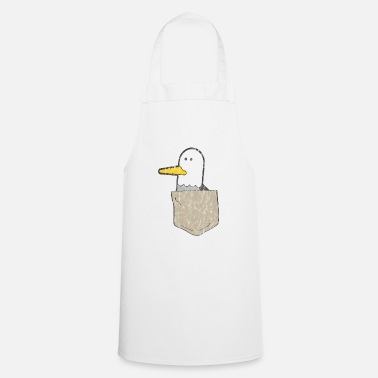 Us Funny seagull in breast pocket. Used look - Cooking Apron