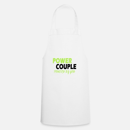 Partnership Aprons - Power Couple - Couple Design - Apron white