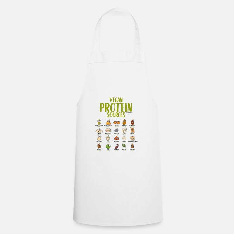 Bestsellers Q4 2018 Aprons - Vegan protein t-shirt for Vegans and Vegetarians - Apron white
