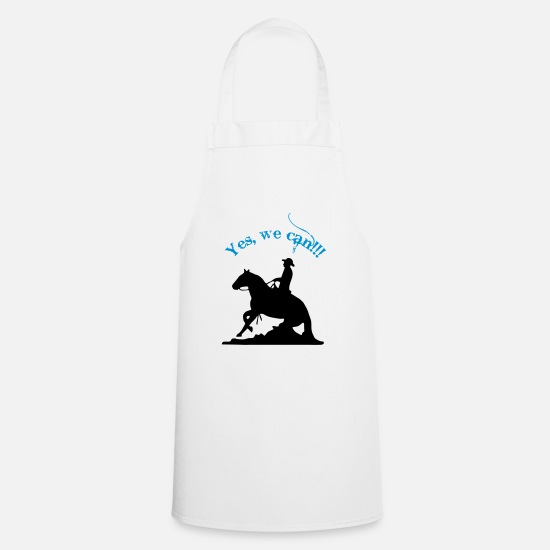 Reining Shirts Aprons - Yes we can slide, western riders - Apron white