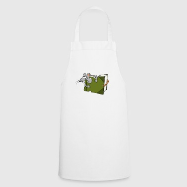Funky Bookworm book mouse rat cartoon eat gift - Cooking Apron
