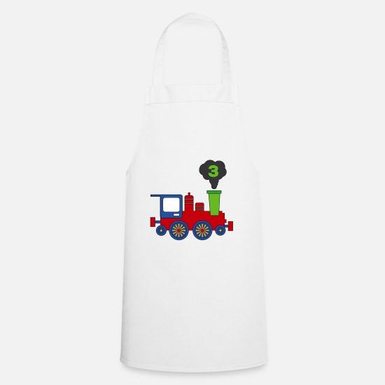 Gift Idea Aprons - Steam engine - 3rd birthday - Apron white