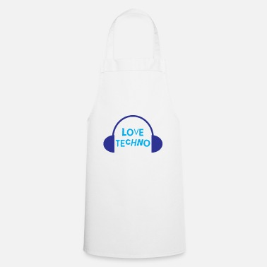 Rock Music Techno Love with headphone design - Apron