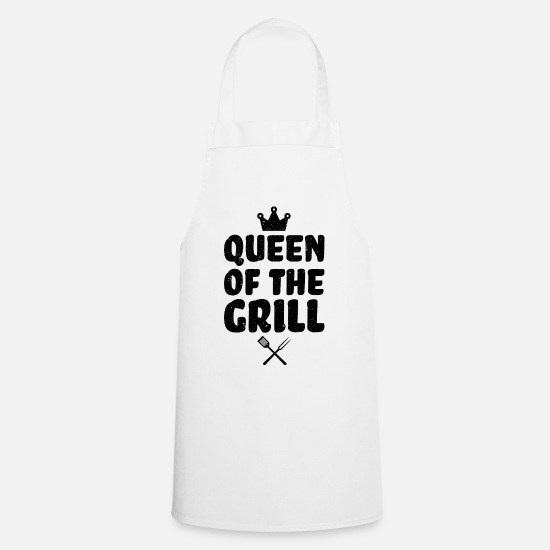 Funny Aprons - QUEEN OF THE GRILL funny BBQ apron for barbequing - Apron white