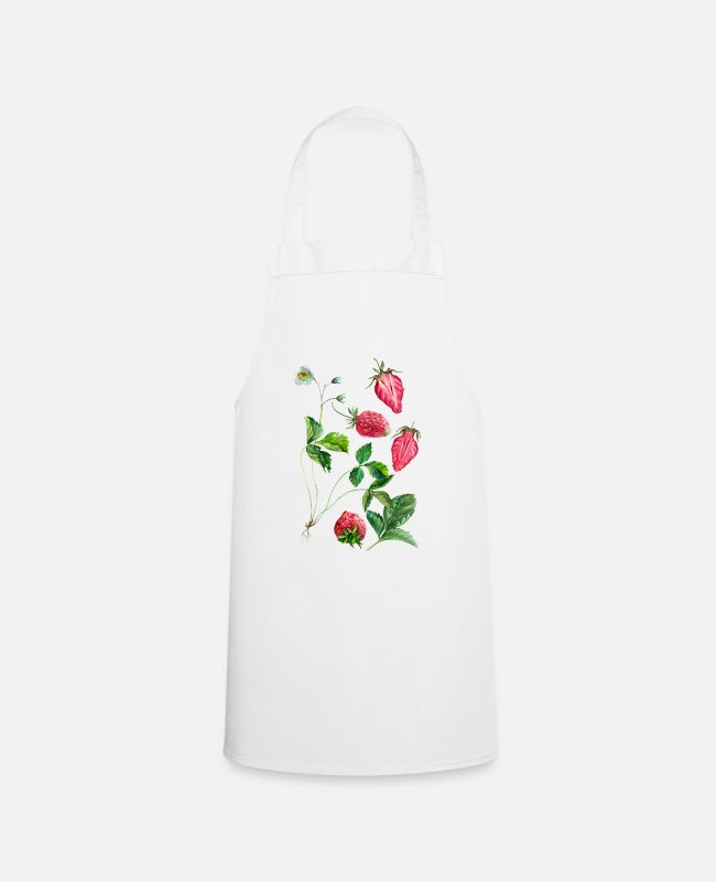 Easter Aprons - Strawberry, vegan, vegetarian, fruit, botany - Apron white
