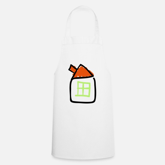 Line Drawing Aprons - House line drawing, Pixellamb ™ - Apron white