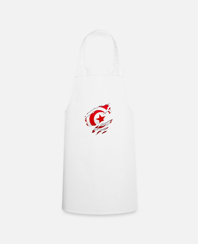 Peace Design Europe World Chad Ghana Tunisian Aprons - africa flag tunisia tunisie - Apron white