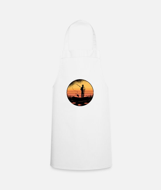 Fisherwoman Aprons - Angler at sea with his gift fishing rod - Apron white