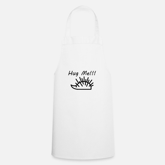 Small Aprons - Funny hedgehog line drawing - Apron white
