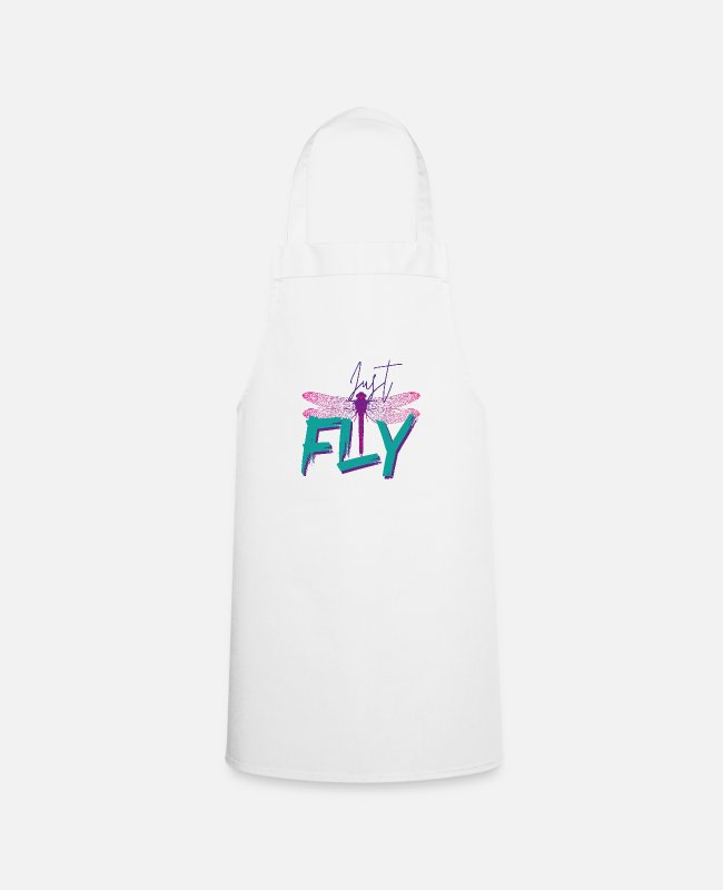 Gay Pride Kookschorten - Just Fly - DRAGONFLY Mint paars - Schort wit