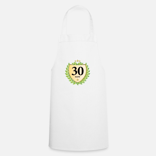 Congratulations Aprons - thirty now thirty laurel wreath 30th birthday - Apron white