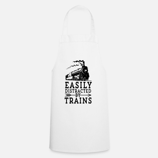 Steam Engine Aprons - Steam Engine Locmotive Gift Easily Distracted By - Apron white