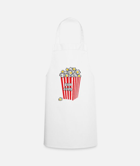 Pop Aprons - pop corn - Apron white