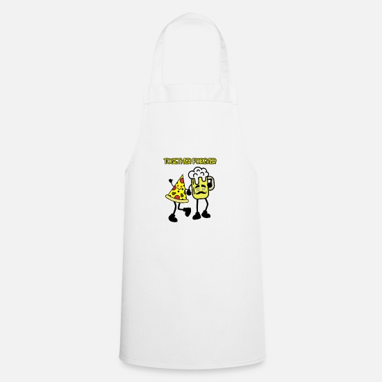 Pizza Aprons - Pizza and Beer Design: Together forever - Apron white
