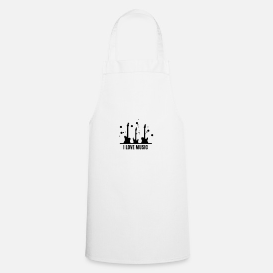 Love Aprons - I love music ... I love music ... with guitar - Apron white