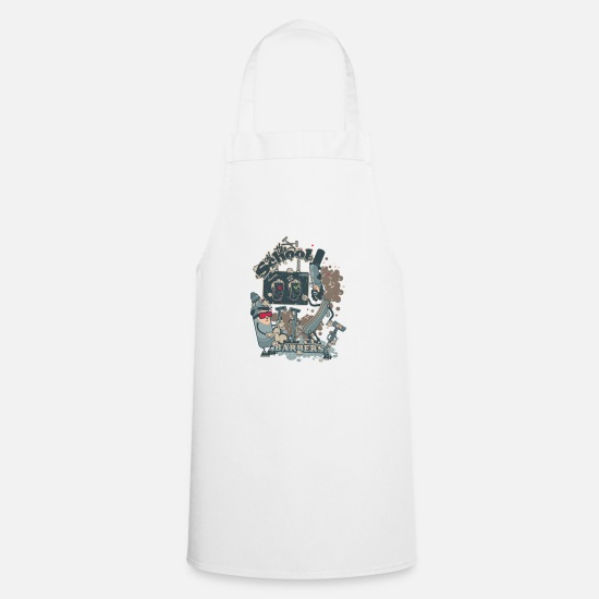 Funny Aprons - barbers shop - Apron white