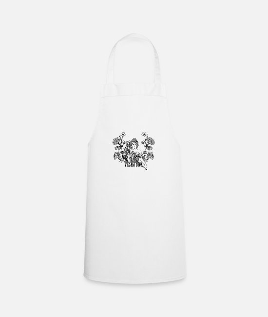 Animal Welfare Aprons - Vegan Diva - lady with flowers - Apron white