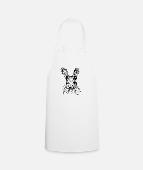 Nature Aprons - squirrel drawing - Apron white