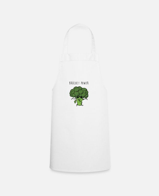 Broccoli Aprons - Brocoli Power - Apron white