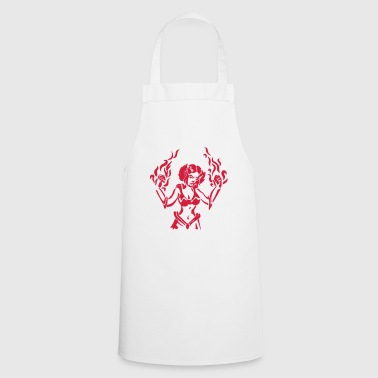 Girl power mage with flames spell RPG fantasy - Cooking Apron