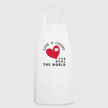 LOVE AND COFFEE CAN HEAL THE WORLD - Cooking Apron