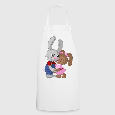 Cute cartoon easter bunny couple - Cooking Apron