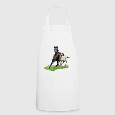 Dülmener Wild Horse mare with foal gallops - Cooking Apron