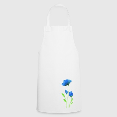 Blue flowers in modern watercolor optics - Cooking Apron