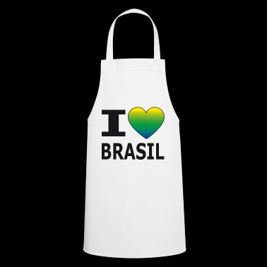 I love Brasil / heart with national colors - Cooking Apron