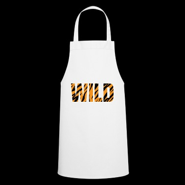 WILD lettering Tiger pattern stripes - Cooking Apron