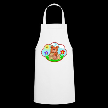 Four funny teddy bears on the meadow gift - Cooking Apron