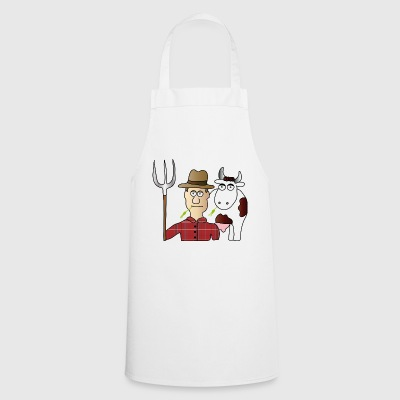 Peasant & Cow | Farmer | Cows Milking | pitchfork - Cooking Apron