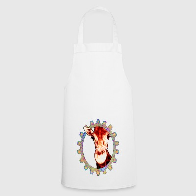 crazy giraffe in colorful frame gear - Cooking Apron