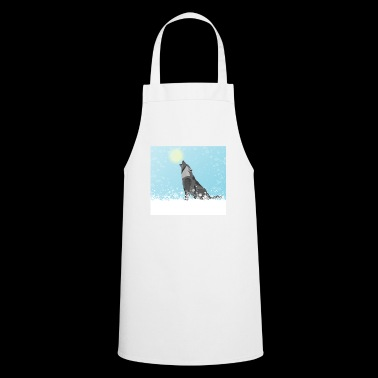 Wolf winter moon snow gift - Cooking Apron