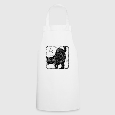 love cat black with stars - Cooking Apron