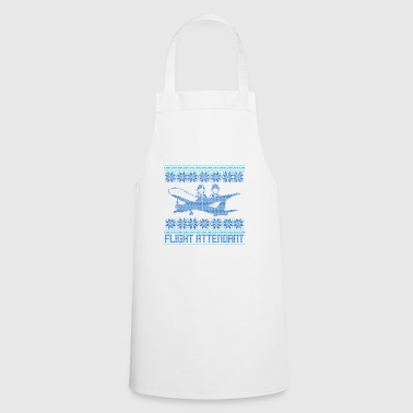 Flight attendant ugly sweater xmas gift flight - Cooking Apron