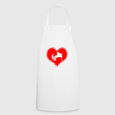 I love piano - music notes piano pianist heart - Cooking Apron