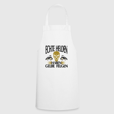 Real heroes yellow rims gift tshirt white - Cooking Apron